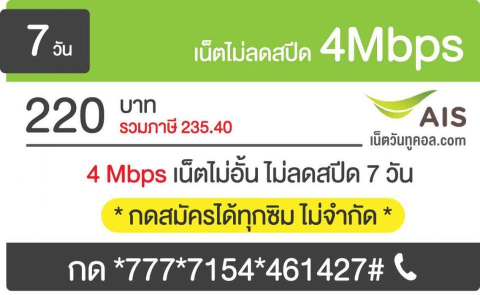 โปรเน็ตไม่ลดสปีด รายสัปดาห์ ais 4Mbps ไม่ลดสปีด 150 บาท 7 วัน เปลี่ยนเป็น 220 บาท