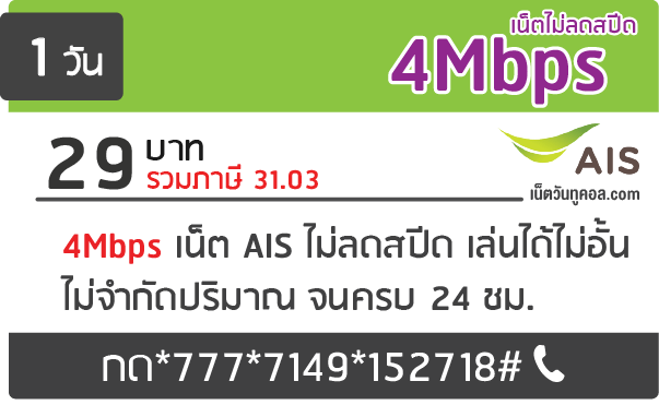 โปรเน็ต ais 4Mbps ไม่ลดสปีด 29 บาท 1 วัน