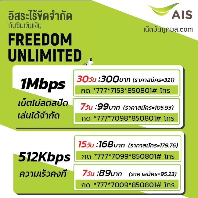 ais 1Mbps 512Kbps โปรเน็ตวันทูคอล ไม่ลดความเร็ว เล่นเน็ตได้ไม่อั้น