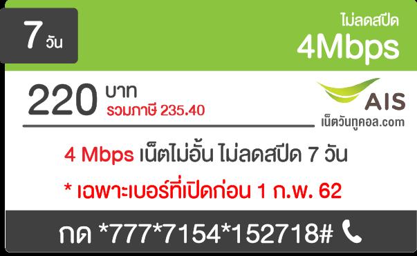 โปรเน็ต AIS 4 Mbps รายสัปดาห์ 220 บาท