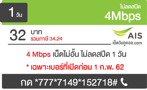 โปรเน็ต AIS 4 Mbps รายวัน 32 บาท