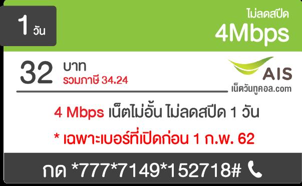 AIS 4Mbps 1Mbps เน็ตไม่อั้น ไม่ลดสปีด รายวัน รายสัปดาห์ รายเดือน