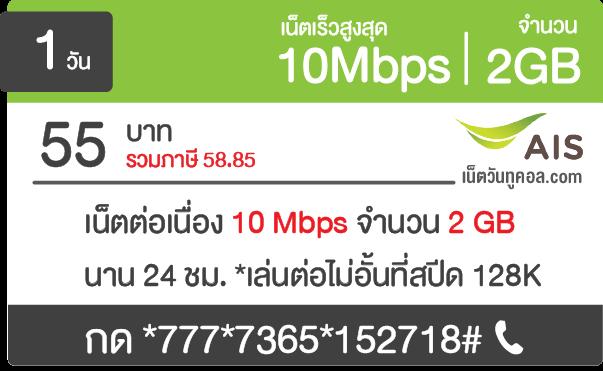 เน็ต AIS 10 Mbps รายวัน 55 บาท