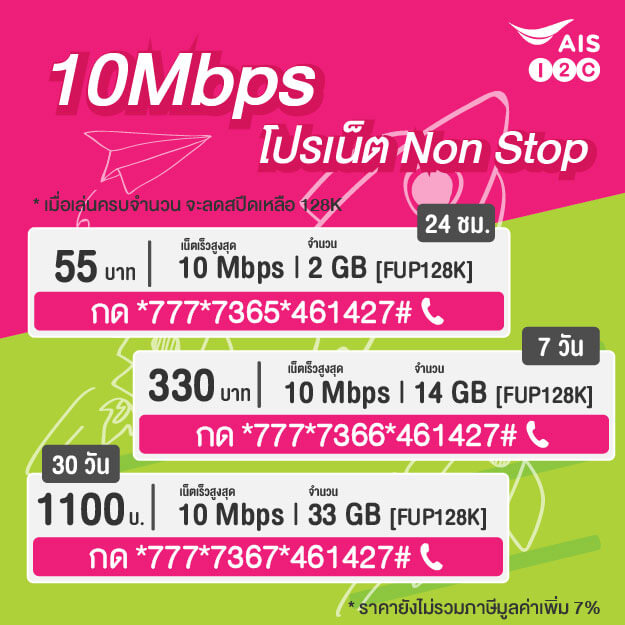 เน็ต AIS 10 Mbps รายวัน รายสัปดาห์ รายเดือน Non Stop